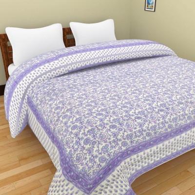 Shra Floral Double Quilts & Comforters Purple, White