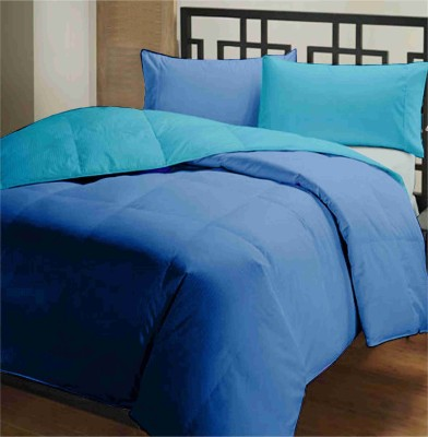 Featherlite Plain Single Duvet Dark Blue, Light Blue