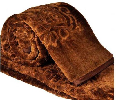AmazingHind Self Design Double Blanket Brown