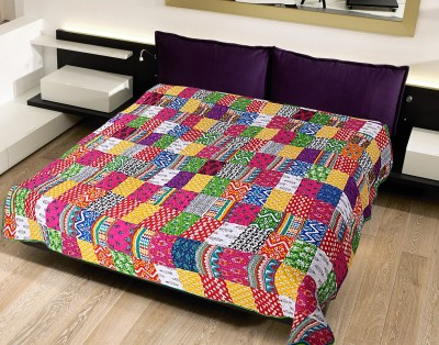Krishnam Abstract Double Blanket Pink, Multicolor
