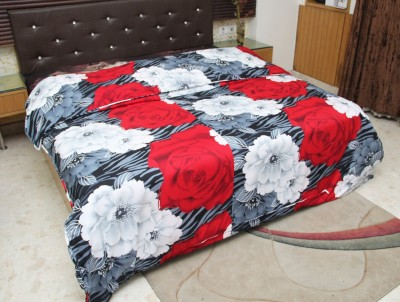 Panipat Floral Double Dohar Grey, Red & White Flower