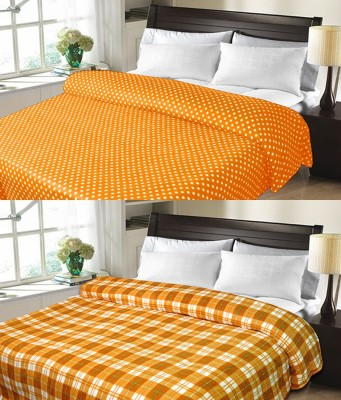 Sanvi Traders Checkered Double Blanket Brown