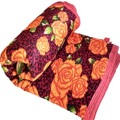 Taksha Retails Floral Double Quilts & Comforters Orange