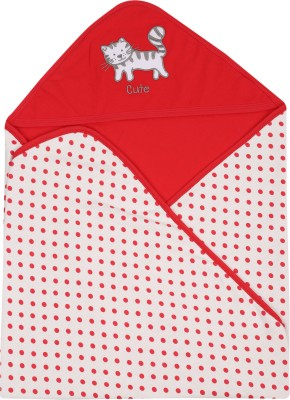 Lula Embroidered Crib Hooded Baby Blanket Red