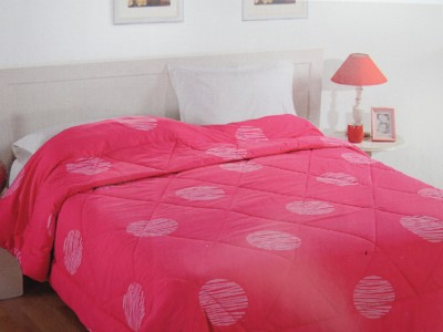 Swayam Polka Single Quilts & Comforters Pink