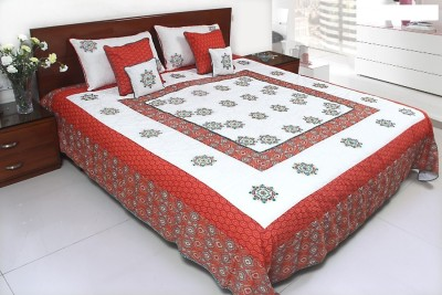 Coco Bee Geometric Double Quilts & Comforters White, Red