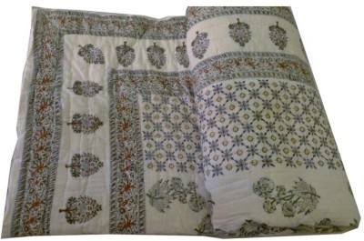 Urvashi Floral Single Quilts & Comforters White, Blue, Gold
