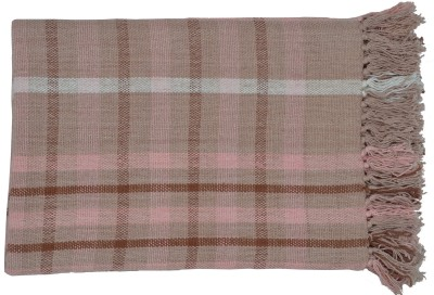 Home Boutique Checkered Single Throw Light Pink