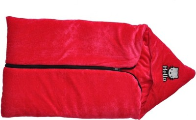 Silver Stone Plain Single Hooded Baby Blanket Red