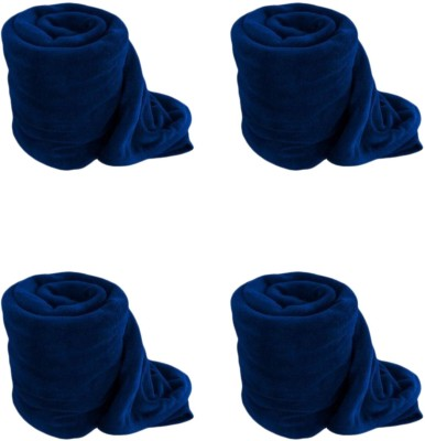 Satviham Plain Single Blanket Blue