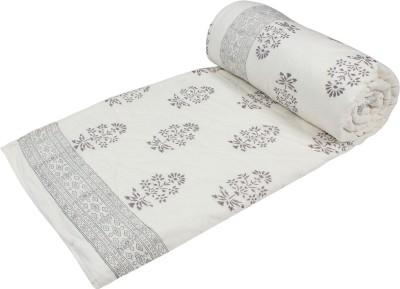 Arra Floral Single Quilts & Comforters Grey