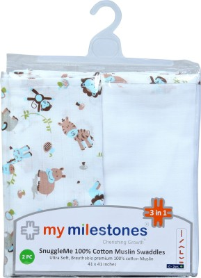 My Milestones Animal Single Swadding Baby Blanket Blue