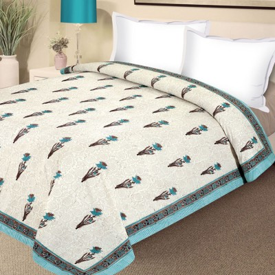 Aapno Rajasthan Floral Double Quilts & Comforters White, Blue