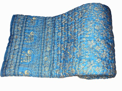 Vivid Rajasthan Floral Double Quilts & Comforters Blue