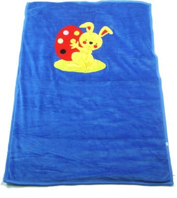Ahad Plain Double Blanket Blue