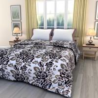 eCraftIndia Floral Queen Blanket Black, White(AC Dohar, One Single Bed Reversible AC Blanket)