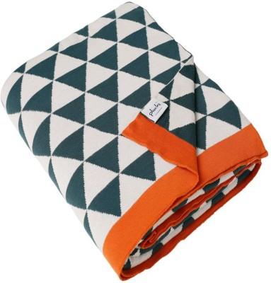 Pluchi Geometric Queen Throw Charcoal Green , Oat & Bright Orange