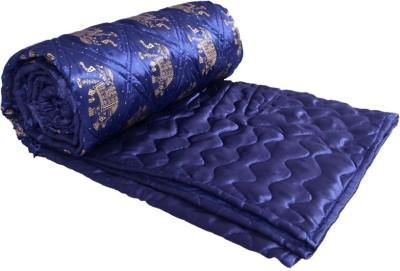 OM PRINTS Self Design Double Quilts & Comforters Blue