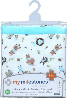 My Milestones Animal Double Swadding Baby Blanket Blue