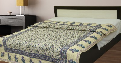 jaipuriprint Floral King Quilts & Comforters White