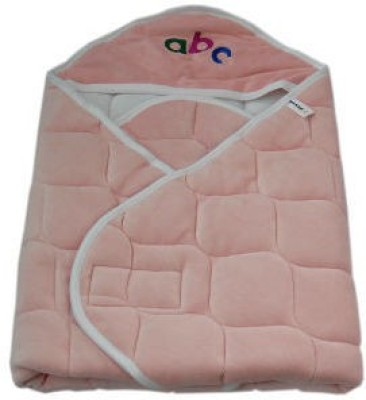 Quick Dry Plain Single Hooded Baby Blanket Pink