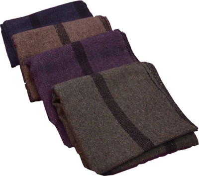 Magical Checkered Single Blanket Grey, Purple, Green, Blue