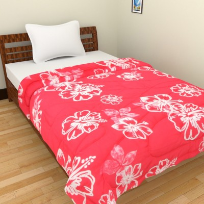 Ridan Floral Single Quilts & Comforters Red