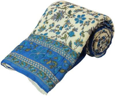 Kiran Udyog Floral Single Quilts & Comforters White, Light Blue