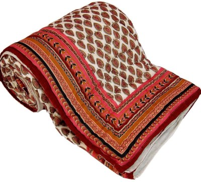 Shreemangalammart Floral Double Quilts & Comforters White And Red