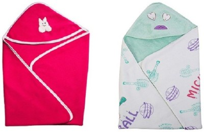 Utc Garments Cartoon, Plain Single Hooded Baby Blanket Light Green, Dark Pink, White