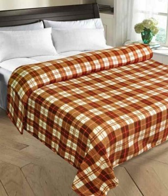 Shiv Fabs Checkered Double Blanket Brown