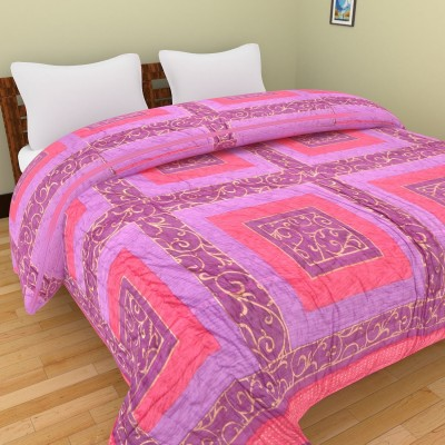 Shra Geometric Double Quilts & Comforters Pink, Purple