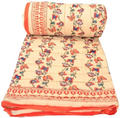Chhipa Prints Floral Double Quilts & Comforters Beige