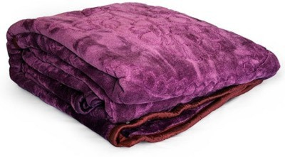 Shree Radhika Synthetics(SRS) Floral Double Blanket Purple