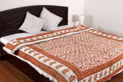 Ayushi Craft & Fashions Floral Double Quilts & Comforters Orange, White