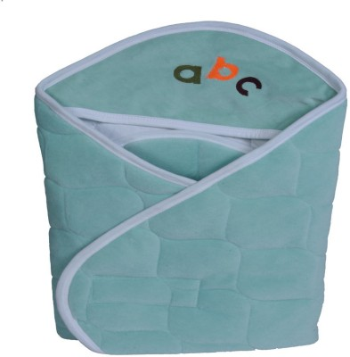 Quick Dry Plain Single Hooded Baby Blanket sea green