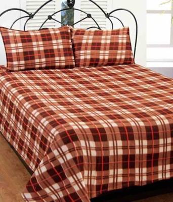 Rangoli Checkered Double Blanket Brown