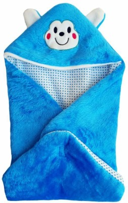 Brandonn Abstract Single Hooded Baby Blanket Blue