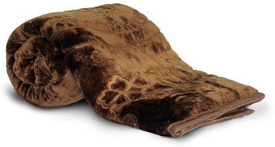 Textile India Floral Single Blanket Brown