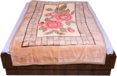 IndiStar Floral Single Blanket Beige