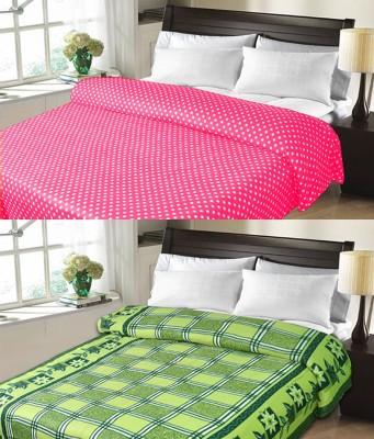 Sanvi Traders Checkered Double Blanket Green