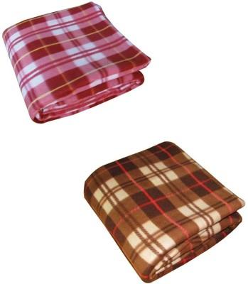 Peponi Checkered Single Blanket Multicolor(Peponi Multicolor Checked Single Bed Fleece Blanket Set of 2)