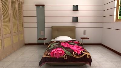 HW Floral Single Blanket Brown