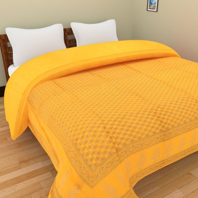 Shra Checkered Double Quilts & Comforters Yellow, Gold