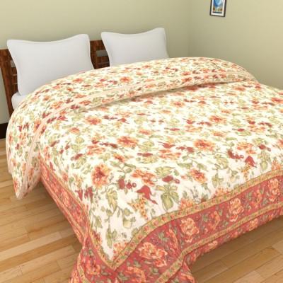 Shra Floral Double Quilts & Comforters Peach, Orange, White