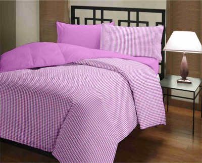 Featherlite Checkered Single Quilts & Comforters Purple checks, Purple Plain