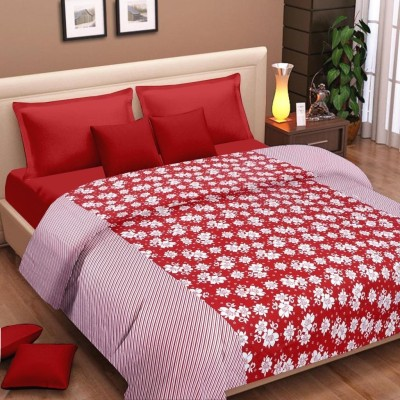 Cortina Floral Double Dohar Red, White