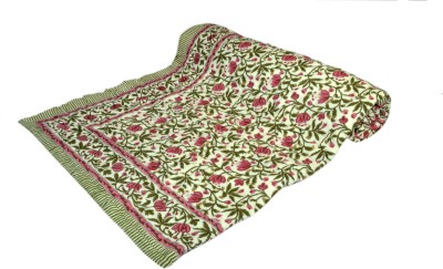 Raj Amer Craft Floral Single Quilts & Comforters Green