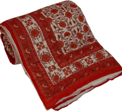 Kiran Udyog Floral Double Quilts & Comforters White, Red