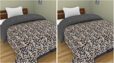 Shra Floral Single Quilts & Comforters Blue